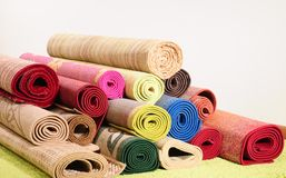 Rolled up carpets Stock Photography