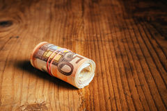 Rolled up cash money, euro banknotes Stock Image