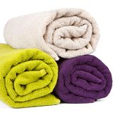 Rolled up colorful towels Royalty Free Stock Images