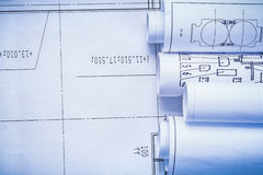 Free Rolled Up Conctruction Blueprints With Copyspace Royalty Free Stock Photography - 51077107