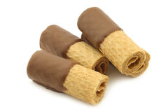 Rolled up crispy chocolate wafers Royalty Free Stock Photo