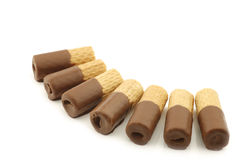 Rolled up crispy chocolate wafers Royalty Free Stock Image