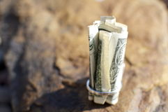 Rolled Up Dollar Bill Royalty Free Stock Photography