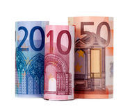 Rolled up eighty euro Royalty Free Stock Images
