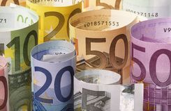 Rolled up Euro banknotes Royalty Free Stock Image