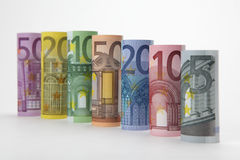 Rolled up Euro bills Stock Image