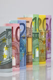 Rolled up Euro bills Royalty Free Stock Images