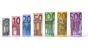 Rolled up Euro bills. On white background Royalty Free Stock Images