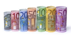 Rolled up Euro bills. On white background Royalty Free Stock Photography