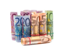 Rolled up Euro bills Royalty Free Stock Photography