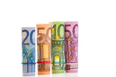 Rolled up Euro bills Royalty Free Stock Photos