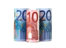 Rolled up fifty euro Stock Images