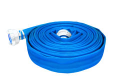 Rolled up hose, fire hose on white background.  stock photo
