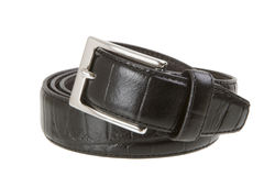 Rolled up leather belt Stock Images