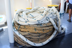Rolled up mooring rope Royalty Free Stock Photo