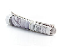 Rolled up newspaper Royalty Free Stock Images