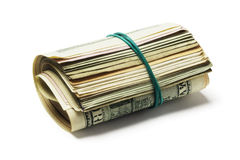 Rolled Up Old US Dollar Bills Stock Images