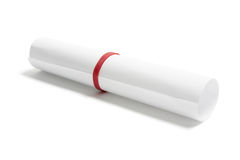 Rolled Up Paper. On Isolated White Background Royalty Free Stock Photos