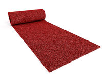 Rolled up red carpet Stock Photography