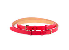 Rolled up red female belt. Stock Photos