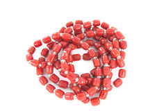 Rolled Up Red Necklace Stock Photo