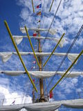 Rolled Up Sails. Sails rolled up the mast on a ship stock photos