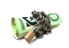 Rolled Up And Shackled Australian Dollar Notes Standing Stock Photo