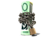Rolled Up And Shackled Australian Dollar Standing Royalty Free Stock Photo