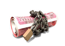 Rolled Up And Shackled British Pounds Lying Stock Photos