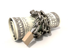 Rolled Up And Shackled Dollars Lying Stock Image
