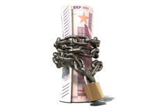 Rolled Up And Shackled Euro Notes Standing. A rolled up euro note wrapped with chains and secured with a padlock on an  background Royalty Free Stock Image