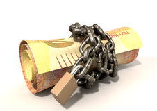 Rolled Up And Shackled Rands Laying Royalty Free Stock Photo