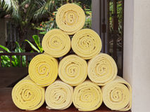 Rolled up spa towels Stock Images