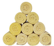 Rolled up spa towels on white Stock Photography
