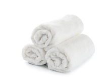 Rolled up white beach towel Royalty Free Stock Images
