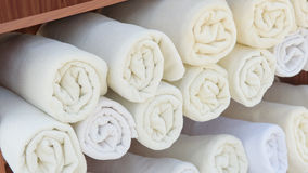 Rolled up white spa towels Royalty Free Stock Images