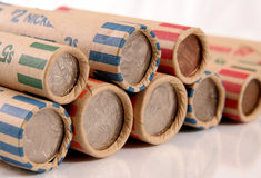 Rolled US Coins. Quarters, dimes, nickels, pennies stock images