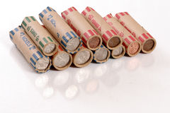 Rolled US Coins. Quarters, dimes, nickels, pennies royalty free stock photos