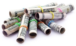 Rolled US Dollar stock photography