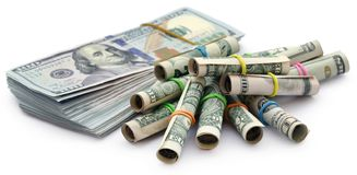 Rolled US Dollar stock images