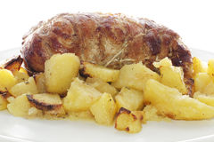 Rolled veal stuffed with potatoes Stock Photography