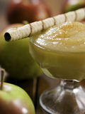 Rolled wafer with apple sauce Stock Photography