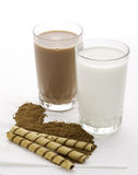 Rolled wafer  with chocolate milk Stock Image