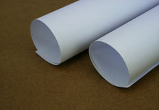 Rolled White Paper Sheet Stock Photo