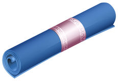 Rolled yoga mat on white Stock Photos