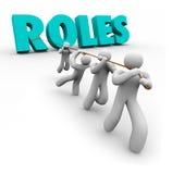 Rollen fassen gezogen durch Team Members Jobs Duties Tasks ab lizenzfreie abbildung