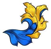 Rollen-mit Filigran geschmücktes Blumenmuster-Wappenkunde-Design lizenzfreie abbildung