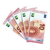 Rollen Sie Banknoten des Euros 10 zusammen, der auf Weiß lokalisiert wird Stockfotos
