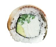 Rollen Sie mit geräuchertem Aal, Avocado, Gurke Stockfoto