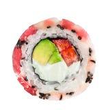 Rollen Sie mit Thunfisch, Kamm-Muschel, Avocado und Erdbeere Stockfoto